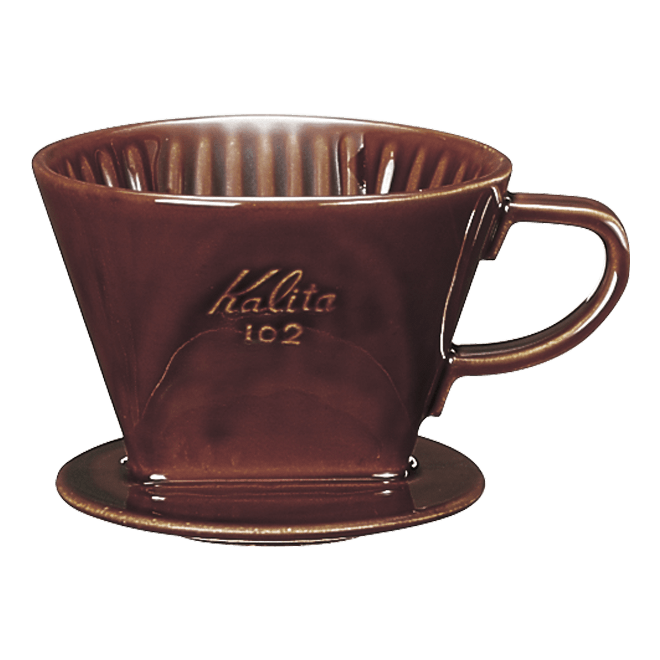 陶器製コーヒードリッパーロトブラウン2〜4人用